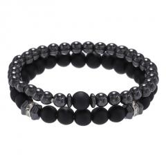 2pcs/Set Sandstone Lava Stone Combination Beaded Men's Bracelet Set B