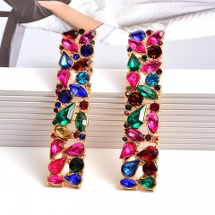 Fashion Colorful Rhinestone Crystal Statement Dangle Stud Earrings Square