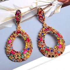 Fashion Colorful Rhinestone Crystal Statement Dangle Stud Earrings Drop