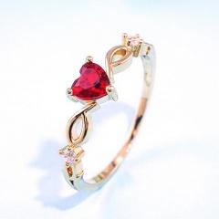 Gold Plated Love Heart Rhinestone Crystal Diamonds Rings Red-#7