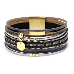 Fashion Golden Circle Dangle Multilayer Leather Bracelets Black