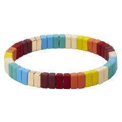Fashion Alloy Multicolor Beads Elastic Bracelet Bangle Jewelry Multicolor