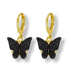 Butterfly Gold Hook Small Earrings Jewelry Wholesale Black