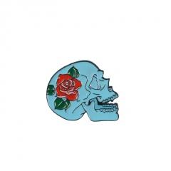 Alloy Multi Skull Series Rose Cowboy Badge Pin Halloween Brooch E