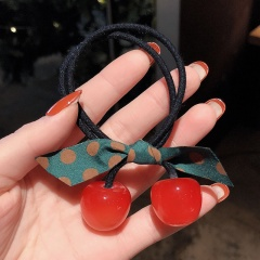 Fruit Cherry Rubber Band Simple Hair Tie Color Streamer Head Rope Red