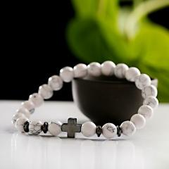 Men Hematite Cross Wood Bracelet Stretchy Beaded Yaga Bangle White