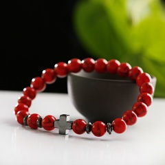 Men Hematite Cross Wood Bracelet Stretchy Beaded Yaga Bangle Red