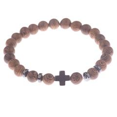 Men Hematite Cross Wood Bracelet Stretchy Beaded Yaga Bangle Brown
