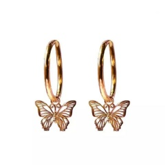 Fashion Alloy Hollow Butterfly Ear Hoop Earrings Gold