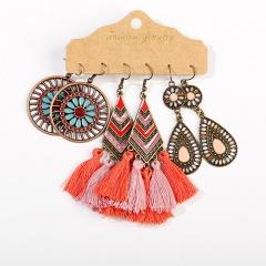 Wholesale MEGGLIO 3 Pairs/Set Colorful Long Tassel Alloy Dangle Earring Set Jewelry Wholesale B