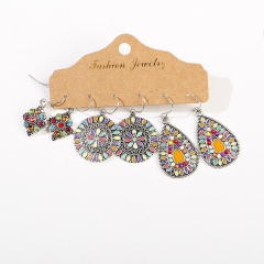 3 Pairs/Set Alloy Colorful Vintage Ethnic Earring Set Jewelry A