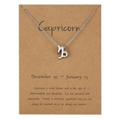 Silve Alloy Sinple 12 Constellations Pendant Chain Charm Necklace Capricorn