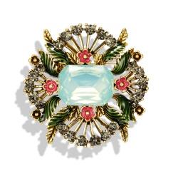 Geometric Flowers Leaves Retro Gemstone Brooch Pin Jewellery Gift Flower 1