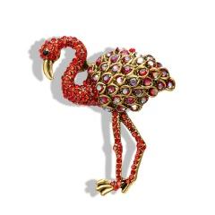 Wholesale Red Rhinestone Ostrich Gemstone Brooch Ostrich brooch