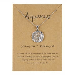 12Constellation Pendant Necklace Day Zodiac Sign Star Silver Choker Aquarius