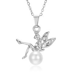 Wholesale Rhinestone Pearl Angel Pendant Silver Necklace #1