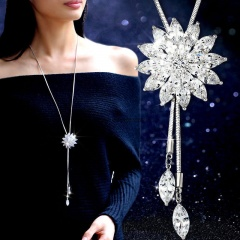 Wholesale Flower Snowflake Cubic Zirconia Sweater Long Chain Necklaces White
