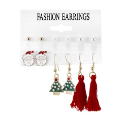 6Pairs/Set Bell Garland Pearl Tassel Christmas Combination Card Earrings Ear Hook Earrings Set #3