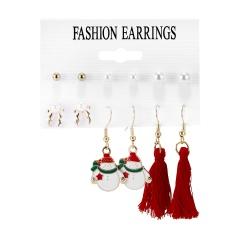 6Pairs/Set Bell Garland Pearl Tassel Christmas Combination Card Earrings Ear Hook Earrings Set #4