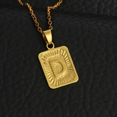 Women Men Gold Plated A-Z Initial Letter Pendant  Long Chain Necklace ( Pendant  size 1.5*2.8cm. chain length 46+5cm) D