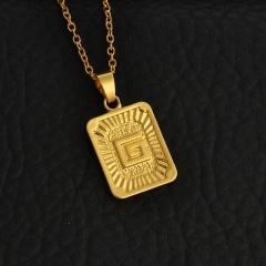 Women Men Gold Plated A-Z Initial Letter Pendant  Long Chain Necklace G