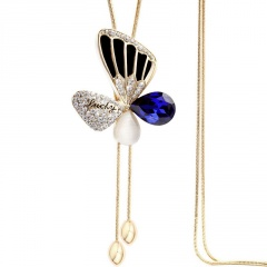 Long Butterfly Crystal Diamond Sweater Chain Necklace Wholesale Butterfly