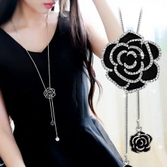Sweet Long Rose Flower Long Adjustable Chain Necklace Rose