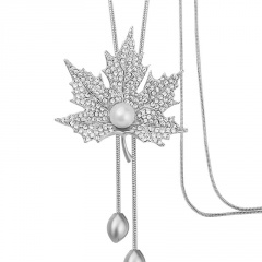 Alloy With Diamond Maple Leaf Sweater Chain Long Neckalce Silver