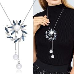 Long Flower Diamonds Pearl Pendant Chain Necklace Wholesale Flower