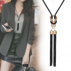 Alloy Black Tassel Long Chain Adjustable Necklace Tassel