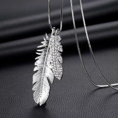 Long Alloy Silver Feather Chain Necklace for Women Feather
