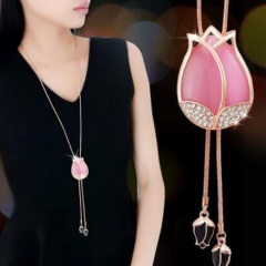 Tulip Opal Long Crystal Tassel Sweater Chain Necklace Pink