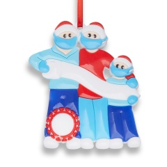 Christmas Hanging Ornaments Blue Red Personalized DIY Name Family Love Gift 3 People
