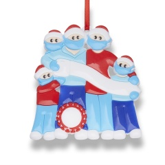 Christmas Hanging Ornaments Blue Red Personalized DIY Name Family Love Gift 5 People