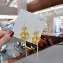 Korean Fashion Gold Long Tassel Dangle Earring Wholesale Yellow