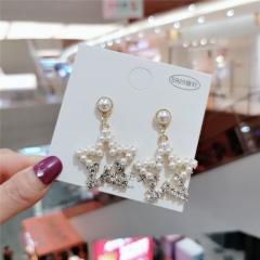 Fashion Alloy Golden Flower Dnagle Stud Earrings Star
