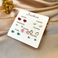 7 Pairs/Set Colorful Small Week Stud Earring Set A