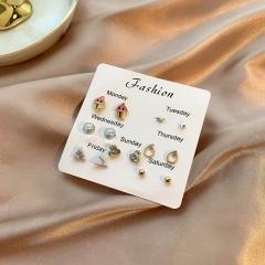 7 Pairs/Set Small Girls Fashion Stud Earring Set Jewelry B