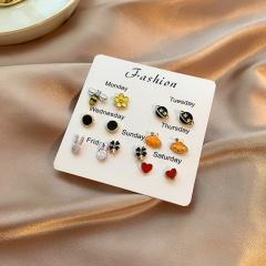 7 Pairs/Set Small Girls Fashion Stud Earring Set Jewelry E