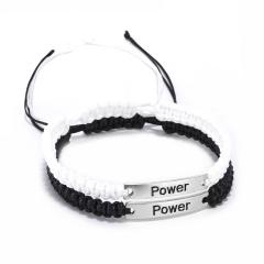 2 Pcs/set Black White Handmade Stainless Steel Adjustable Bracelet Set Power