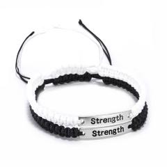 2 Pcs/set Black White Handmade Stainless Steel Adjustable Bracelet Set Strength