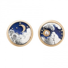 Wholesale Fashion Simple Sun and Moon Stud Earrings Style 1