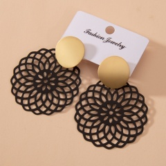 Wholesale Chinese Style Flower Stud Earrings Black