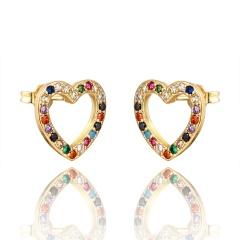 Gold Copper with CZ Stone Hollow Heart Hoop Earrings Heart