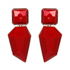Multicolor Statement Stud Gold Plated Earrings Wholesale Red