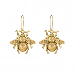 Gold Silver Insect Bee Simple Dangle Earrings Gold