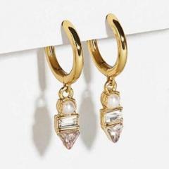 Gold Copper Crystal Pearl Simple Small Hoop Earrings Jewelry Moon