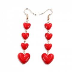 Red Heart Long Dangle Earrings Gold Plated Heart
