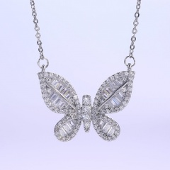 Silver Copper with CZ Stone Butterfly Charm Necklace Wholesale Butterfly