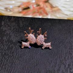 Fashion Silver Stone Elk Shape Stud Earrings Wholesale Elk